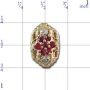 A3977 14K SLIDE WITH RUBY CLUSTER CENTER & 2 DIAMONDS