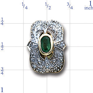 A3989 14K SOID BACK BEZEL EMERALD SLIDE WITH DIAMONDS