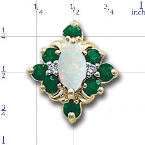 A4136 14K MARQUISE OPAL SLIDE WITH SIDE ROUND EMERALD & DIAMOND
