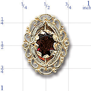 A4139 14K SLIDE WITH GARNET & FILIGREE SIDES
