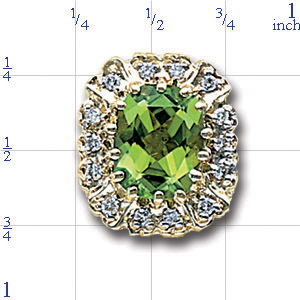 A4392 14K CUSH CHECKERBOARDPERIDOT & DIAMOND SLIDE