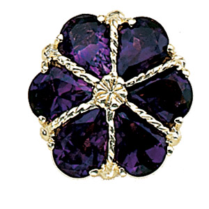 A4410 14K SLIDE WITH 6 PEAR SHAPE AMETHYST ON A YN1