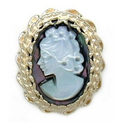AC155 14K MOTHER OF PEARL CAMEO SLIDE