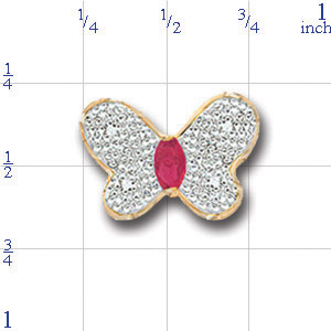 AC244 14K BUTTERFLY WITH RUBY SLIDE
