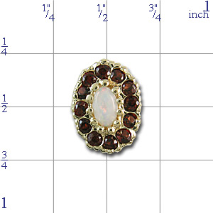 AC426 14K SLIDE WITH OPAL CENTER/GARNET SIDES