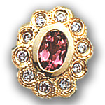 AC472 14K SLIDE WITH CENTER PINK TOURMALINE AND DIAMOND SIDES