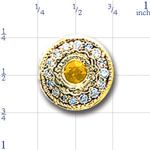 AC474 14K ROUND SLIDE WITH BEZEL CITRINE & DIAMONDS