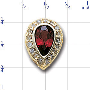 AC504 14K BEZEL PEAR SHAPE GARNET & DIAMOND SLIDE