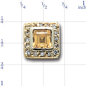 AC505 14K SQ CITRINE & DIAMOND SLIDE