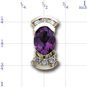 AC537 14K HALF BEZEL AMETHYST & CHANNEL DIAMOND SLIDE