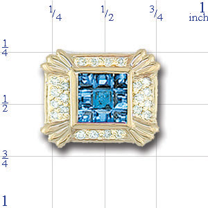 AC539 14K SCORED BLUE TOPAZ & DIAMOND SLIDE