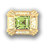 AC539 14K SQ PERIDOT & DIAMOND SLIDE