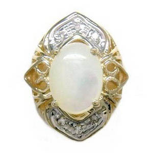B1303 14K SLIDE WITH MOTHER OF PEARL & 6 DIAMONDS