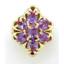 B2120 14K SLIDE CREATED ALEXANDRITE CENTER & SIDES