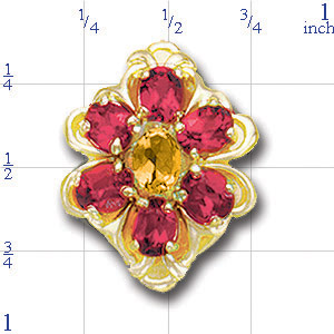 B2120 14K SLIDE CITRINE CENTER & RHODOLITE SIDES