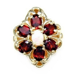 B2120 14K SLIDE OPAL CENTER & GARNET SIDES
