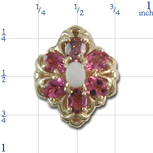 B2120 14K SLIDE OPAL CENTER & PINK TOURMALINE SIDES
