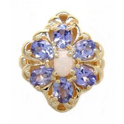 B2120 14K SLIDE OPAL CENTER & TANZANITE SIDES
