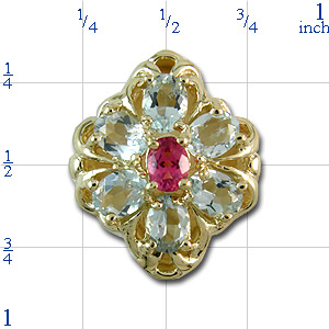 B2120 14K SLIDE PINK TOURMALINE CENTER & AQUAMARINE SIDES