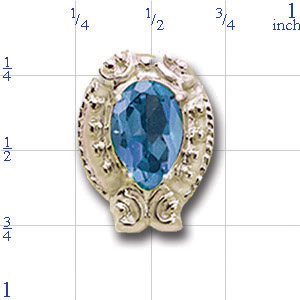 B2157 14K SLIDE WITH BLUE TOPAZ IN BYZANTINE DESIGN WITH SCROLL