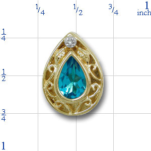 B2159 14K SLIDE-BACK SET BLUE TOPAZ WITH OPEN FILIGREE WORK
