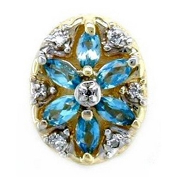 B2168 14K SLIDE WITH MARQUISE BLUE TOPAZ & DIAMOND IN FLOWER DESIGN