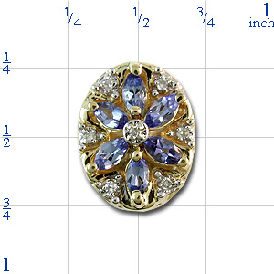 B2168 14K SLIDE WITH MARQUISE TANZANITE & DIAMOND IN FLOWER DESIG