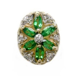 B2168 14K SLIDE WITH MARQUISE TSAVORITE &DIAMOND IN FLOWER DESIGN
