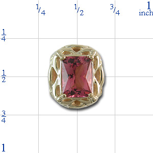 B2171 14K SLIDE WITH OCTAGON PK TOURMALINE WITH OPEN WORK