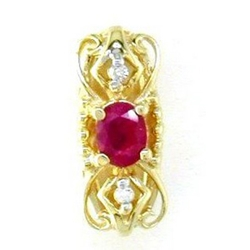B2174 14K SPACER WITH BURM RUBY AND DIAMONDS