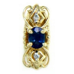 B2174 14K SPACER WITH SAPPHIRE AND DIAMONDS