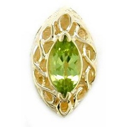 B2181 14K MARQUISE PERIDOT SLIDE WITH OPEN X DESIGN
