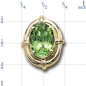 B2645 14K SLIDE WITH PERIDOT CENTER