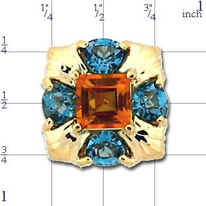 B3333 14K CITRINE AND LONDON BLUE TOPAZ SQUARE/TRILLION SLIDE