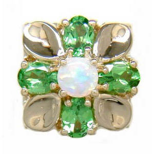 B3334 14K OPAL CENTER WITH B TSAVORITE PEAR SHAPE SLIDE