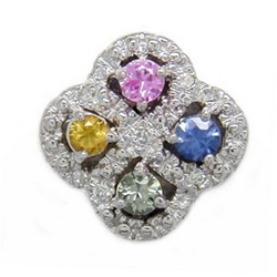 B3679 14K ROUND PINK/BLUE/YELL/GRN SAPPHIRE AND DIAMOND SLIDE