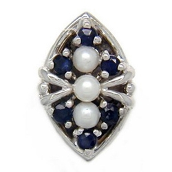 B3689 14K SAPPHIRE AND PEARL SLIDE