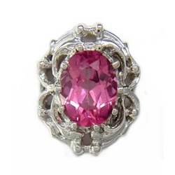 B515 14K BACKLESS HOT PINK TOPAZ SLIDE