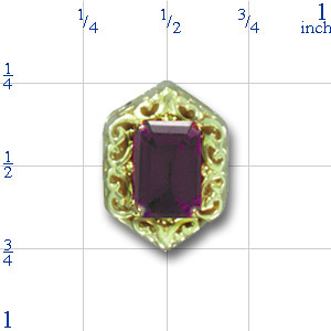 B585 14K EMERALD CUT AMETHYST SLIDE