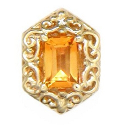 B585 14K EMERALD CUT CITRINE SLIDE