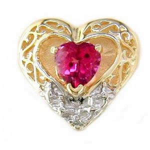 B956 14K HEART SHAPE SLIDE WITH HOT PINK TOPAZ & 1 DIAMOND
