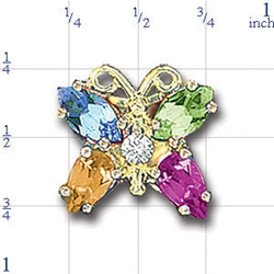 N360 14K MARQUISE BLUE TOPAZ&AM /PS CIT&GARNET BUTTERFLY 1 DIAMOND SLIDE