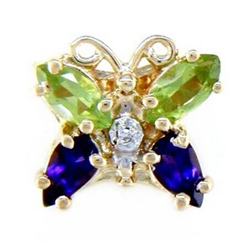N360 14K MARQUISEPERIDOT & PS AMETHYST 1 DIAMOND BUTTERFLY SLIDE
