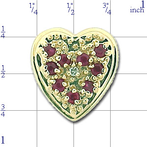 N361 14K 9 ROUND RUBY 1 DIAMOND SLIDE