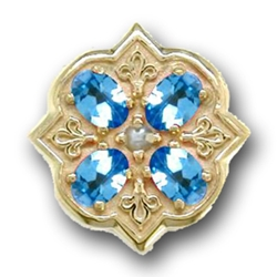 N606 14K BLUE TOPAZ SLIDE WITH PEARL CENTER-FLEUR DE LIS DETAIL
