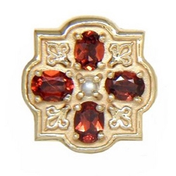 N606 14K GARNET SLIDE WITH PEARL CENTER-FLEUR DE LIS DETAIL