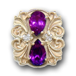 N607 14K PEAR SHAPE AMETHYST & DIAMOND SLIDE WITH FLEUR DE LIS DETAIL