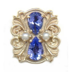 N607 14K PEAR SHAPE TANZANITE & PEARL SLIDE WITH FLEUR DE LIS DETAIL