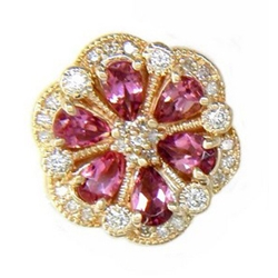 N720 14K PEAR SHAPE PINK TOURMALINE & DIAMOND SLIDE