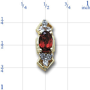 Y1423 14K SLIDE WITH GARNET AND DIAMONDS